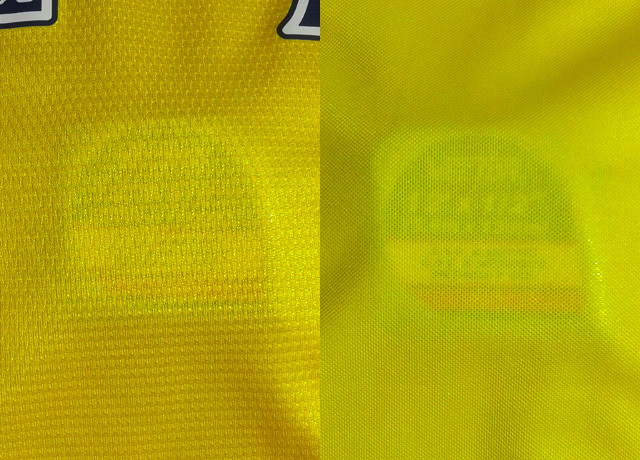 Comparative thickness through one layer. Similar, but Puma is definitely thinner.