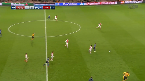 Carrasco explodes into the open gap, resulting in the third away-goal for Monaco.